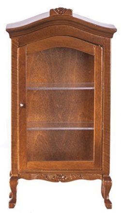 Dollhouse Miniature 1:12 Scale Walnut Curio Cabinet #T6629