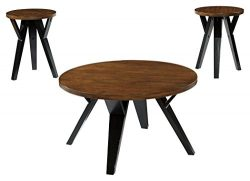 Signature Design by Ashley T267-13 Ingel Table, Set of 3, Two Tone Brown