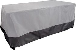 Dining Table Cover – Weatherproof Patio Furniture Cover (Grey w Dark Grey Trim)