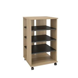 Nexera 103724 Jasper Mobile Storage Tower, Biscotti & Black