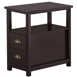 Yaheetech Chairside Table with 2 Drawer and Shelf Narrow Nightstand for Living Room (Espresso, R ...