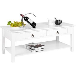 HOMFA Modern Coffee Table Console Desk with Storage and Shelf 2 Drawers Simple Stylish Collectio ...
