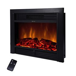 BEAMNOVA 28.5″ Embedded Fireplace Electric Insert Heater Glass View Log Flame w/ Remote Home
