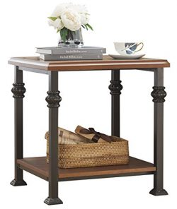 O&K Furniture End Table with Lower Shelf, Wood and Metal Side Table for Living Room , Maple