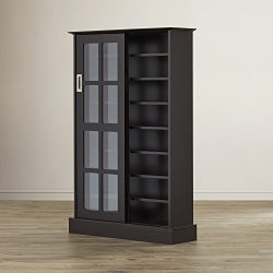 Multimedia Storage Cabinet With Sliding Glass Doors – Holds 576 CD or 192 DVD – Tall ...