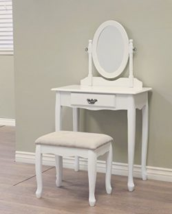 Frenchi Home Furnishing Queen Annie Vanity Set in White