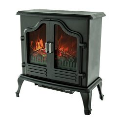 FLAME&SHADE Electric Fireplace Stove Heater, Portable Free Standing Fireplace Space Heater w ...
