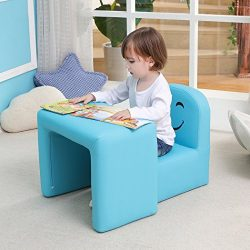 Multi-functional Children's Armchair Emall Life Kids Wooden Frame Chair and Table Set with ...