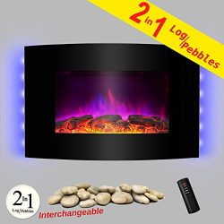 AKDY 36″ Wall Mount  2-in-1 Log and Pebble Style Indoor Electric Fireplace Heater