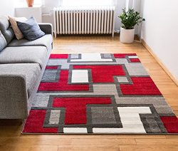 Uptown Squares Red & Grey Modern Geometric Comfy Casual Hand Carved Area Rug 4×5 4&#215 ...