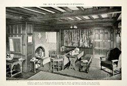 1916 Print Living Room Gothic Oak Furniture Sofa Table Home Interior Design GF5 – Original ...