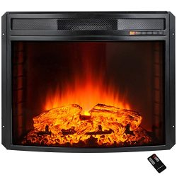AKDY 28″ Black Electric Firebox Fireplace Heater Insert Curve Glass Panel W/Remote