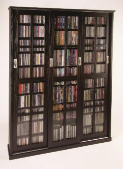 Leslie Dame MS-1050ES Mission Style Multimedia Storage Cabinet with Sliding Glass Doors, Espresso