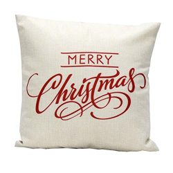 GBSELL Vintage Merry Christmas Letter Sofa Bed Home Decoration Festival Pillow Case Cushion Cove ...