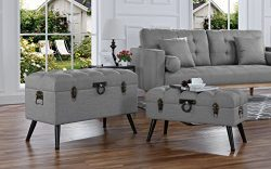 2-Piece Classic Tufted Linen Fabric Storage Chests / Accent Table / Bench (Grey)