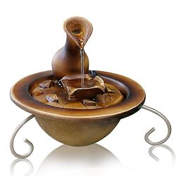 SereneLife Desktop Waterfall Fountain | Tabletop Water Decoration | Indoor, Outdoor, Patio or Ga ...