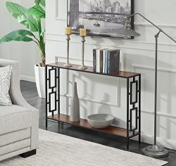 Convenience Concepts Town Square Metal Console Table, Cherry / Black