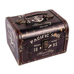 WaaHome Wood Treasure Chest Antique Ocean Boat Anchor Treasure Jewelry Keepsake Box for Home Dec ...