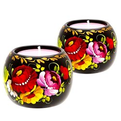 Fancy Tea Light Candle Holder Set of 2 Ethnic Floral Design Home Décor Accent Gift for Christmas ...