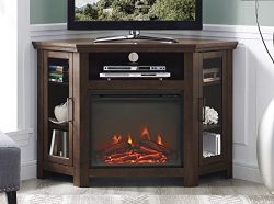 WE Furniture 48″ Wood Corner Fireplace Media TV Stand Console – Traditional Brown