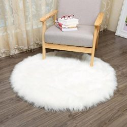 GBSELL Soft Artificial Wool Warm Hairy Rug Chair Cover Carpet Seat Pad,3030CM (White)