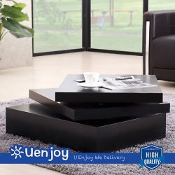 Black Square Coffee Table Rotating Contemporary Modern Living Room Furniture
