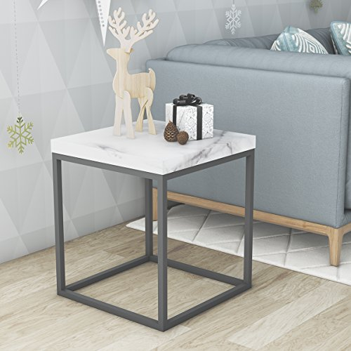 roomfitters Side End Table Marble Print Top Metal Frame Square Chairside Table for Living Room,W ...