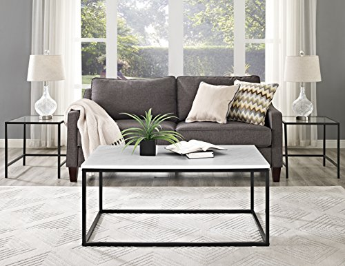 WE Furniture 42″ Mixed Material Coffee Table – Marble