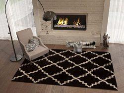 Black Ebony 5×8 ( 5'3″ x 7'3″ ) Area Rug Trellis Morrocan Modern Ge ...