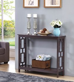 Espresso Finish 2-Tier Square Design Occasional Console Sofa Table Bookshelf