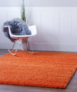 Orange Shag Rug, 5-Feet by 8-Feet, 5×8 Solid & Thick Stain-Resistant Non-Shed Living Ro ...