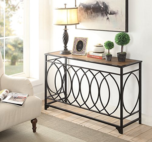 vintage brown finish black metal circle design console sofa table forrealdesigns forrealdesigns. Black Bedroom Furniture Sets. Home Design Ideas
