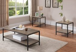 Kings Brand 3 Piece Gray / Black Occasional Table Set, Coffee Table & 2 End Tables