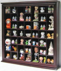 Collectible Display Case Wall Curio Cabinet Shadow Box, Solid wood, glass door (Cherry Finish)
