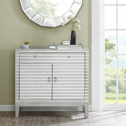 Barstow Mirror Stripe Accent Chest Silver See below