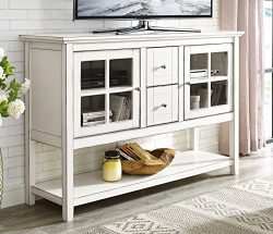 WE Furniture 52″ Wood Console Table Buffet TV Stand – Antique White
