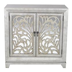 Heather Ann Creations 2 Door Accent Cabinet/Console with Mirror Backed Carved Grille and Center  ...