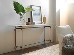 "Hooker Furniture Skinny White Marble with Dark Bronze 80""L x 16""W Rectangular Consol ..."