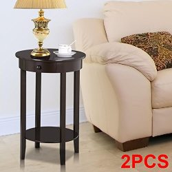 Yaheetech Round Sofa Side End Table with Drawer Wood Beside Nightstand Console Table for Small S ...