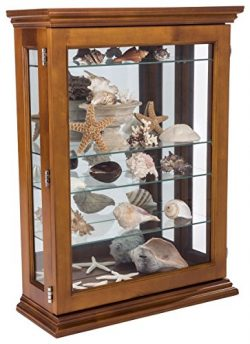 Displays2go, Cheap Curio Cabinets, Tempered Glass, Plywood, Mahogany Wood – Light Oak Finish (CC ...