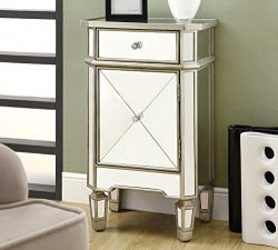Monarch specialties I 3702, Accent Chest 1 Drawer 1 Cabinet, Mirrored, Brushed Silver Trim, 29&# ...