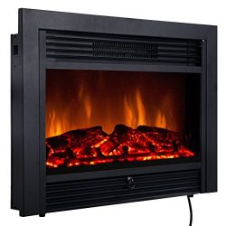 Giantex 28.5″ Electric Fireplace Insert with Heater Glass View Log Flame with Remote Contr ...