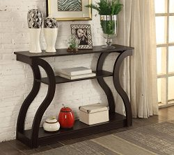 Cappuccino Finish Hall Console Sofa Entryway Accent Table Modern Design 47.5″ Wide