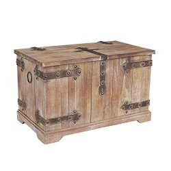 Household Essentials Decorative Victorian Inspired Trunk, Rustic Brown, Large