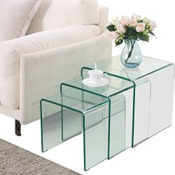 Nurxiovo Glass Coffee Table Set of 3 End Side Table Living Room Table Sets Clear