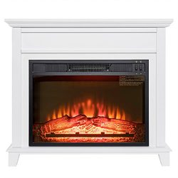 Golden Vantage 32″ Freestanding White Wood Finish Electric Fireplace Stove Heater
