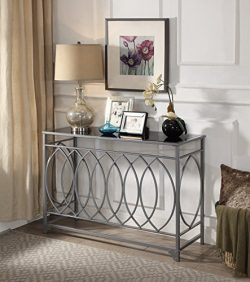 Silver Finish Metal Black Tempered Glass Circle Design Console Sofa Table