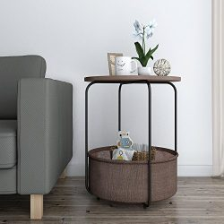 Lifewit 2-tier Round Side Table End Table Nightstand with Storage Basket, Modern Collection Espr ...