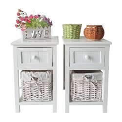 Uenjoy Retro White Wood Shabby Chic Nightstand End Side Bedside Table w/Wicker Storage (Set of 2 ...