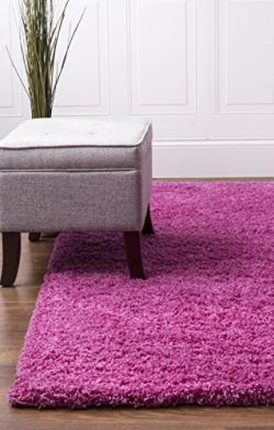 Pink Shag Rug, 5-Feet by 8-Feet, 5×8 Solid & Thick Stain-Resistant Non-Shed Living Room ...
